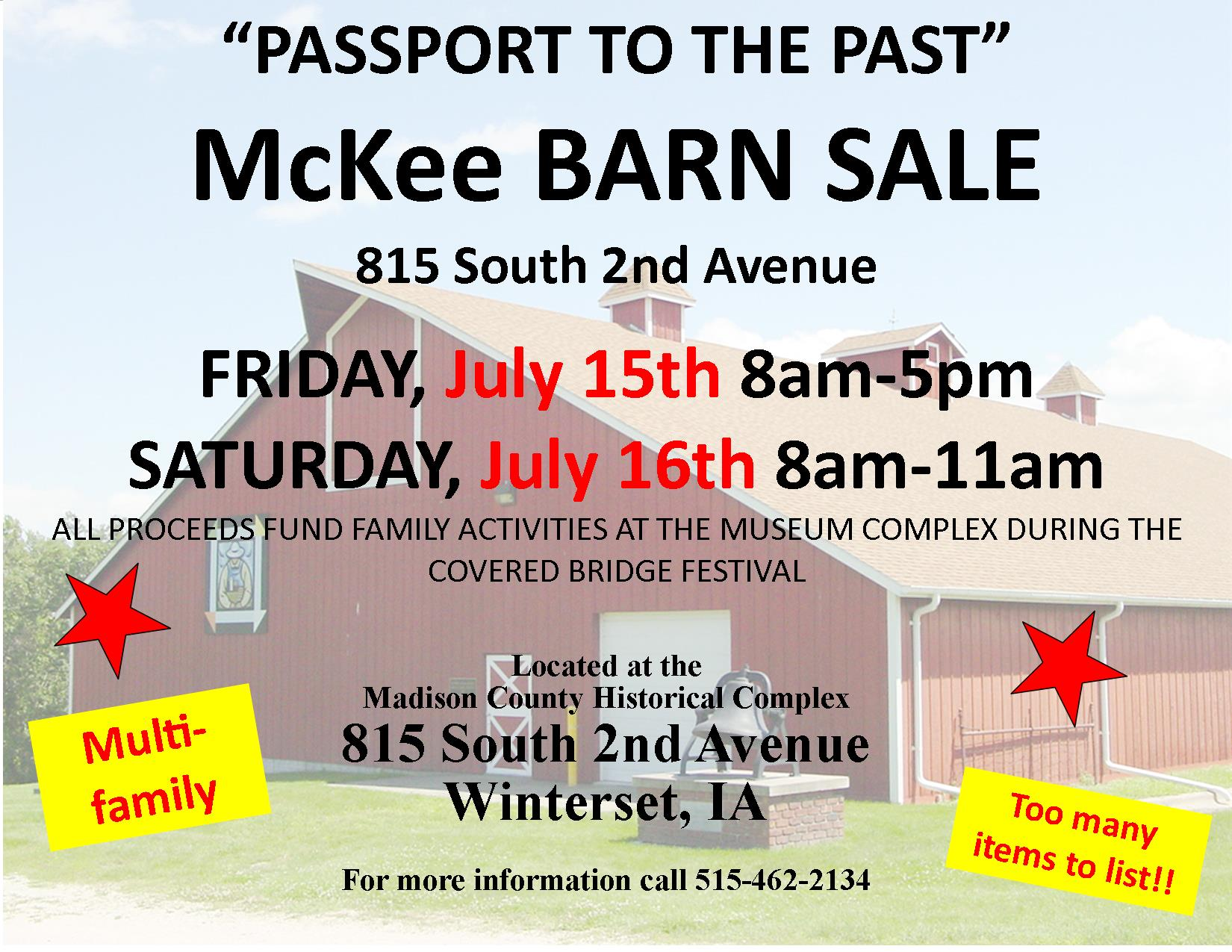 Passport Barn Sale sign 2016